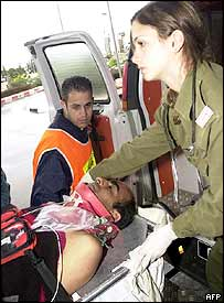 An injured soldier arrives at hospital in Beersheva