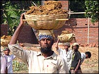 Labourer at the Evince Textiles site at Gazipur