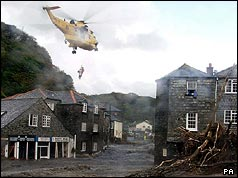 Helicopter rescue in Boscastle
