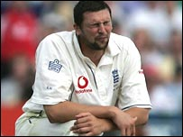 England's Steve Harmison shows his frustration