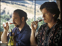 Paul Giamatti (l) and Thomas Haden Church in Sideways