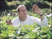 Professor Carlo Leifert with the Hungarian 'purple' potato. Picture: North News