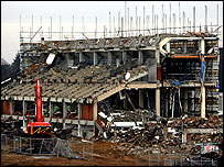 Work is being carried out to demolish Ascot's grandstand