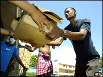 Aid being handed out in Galle, Sri Lanka