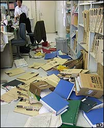Office in Sendai after quake - 16/8/05
