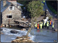 Boscastle during the flooding