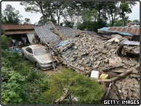 A destroyed house in Kazo, Saitama Prefecture, Japan