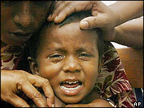 Boy receives vaccine at camp in Port Blair