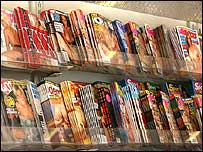 Image of X-rated magazines in a shop