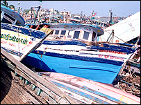 Wrecked boats on Nagapattinam harbour