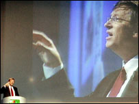 Bill Gates speaking at a conference in Italy, AP