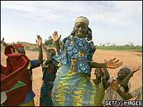 Nigeriens dance a traditional Huru Ruki dance for good luck and prosperity