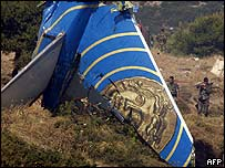 Wreckage from the Helios Airways plane that crashed in Greece on 14 August 2005