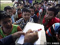 Children in Aceh refugee camp