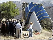 Bereaved relatives at the site of the Helios plane crash