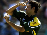 Wasim Akram in action for Pakistan during the 2003 Cricket World Cup
