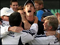 Andy Murray celebrates with the GB squad