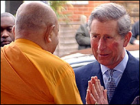 Prince Charles at the London Buddhist Vihara Centre