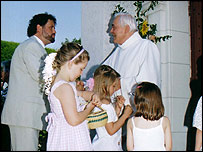 Fr Bouzou (right) conducts a wedding ceremony in Montlauzun