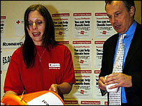 Charity worker (left) and Tony Blair