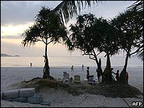 A sunset scene in Phuket, Thailand, ten days after the tsunami struck