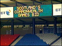 Games bid sign at Hampden