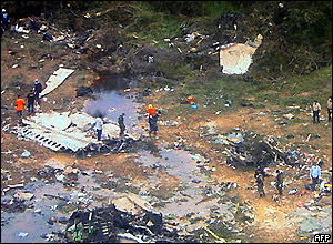 The crash site in Venezuela