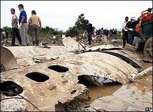Wreckage of flight WC 707