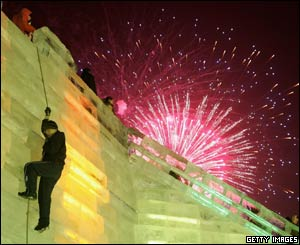 Climbing an ice sculpture