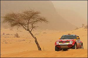 Frenchman Stephane Peterhansel rides through the seventh stage of the Dakar rally