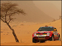 Defending Paris-Dakar champion Stephane Peterhansel in action