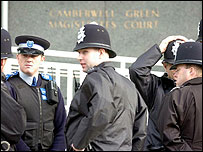Police outside Camberwell Magistrates' Court on Friday