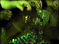 Taking pills in a nightclub