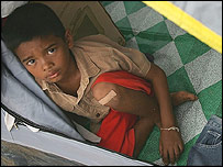 A tsunami survivor in a camp for displaced villagers in Phuket, Thailand