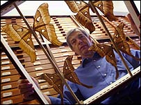 Nigel Fergusson with Hercules moths, NHM