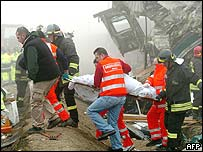 Rescuers at crash site