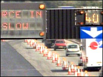 Roadworks on the M1 in Leics