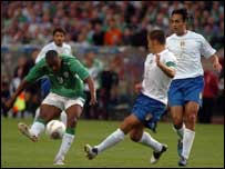 Fabio Cannavaro tries to block Clinton Morrison's shot