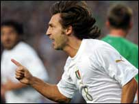 Andre Pirlo celebrates his first half goal