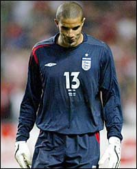 David James hangs his head in shame