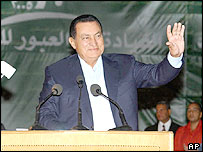 Hosni Mubarak at his campaign rally