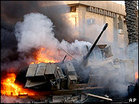 Burning Bradley fighting vehicle, Baghdad