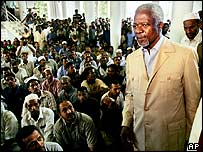 Kofi Annan visits tsunami survivors in a mosque in  Hambantota, Sri Lanka, 8 January 2005