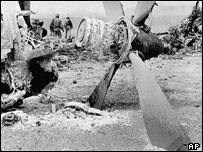Wreckage of the crashed Hercules C130