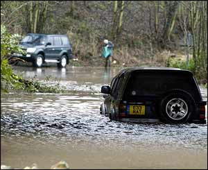 Car caught in floods in Northumberland