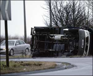 Overturned lorry in Newcastle