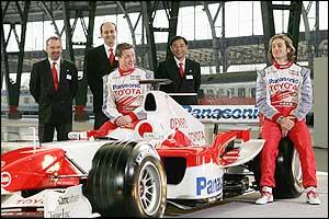 The Toyota team show off their car for the 2005 season
