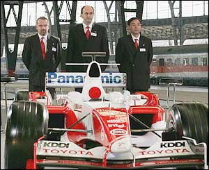 Mike Gascoyne the Technical Director Chassis, Luca Marmorini the Technical Director Engine and Keizo Takahashi the Director Technical Co-Ordination with the new TF105 F1 Car