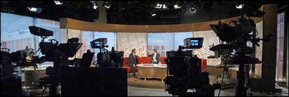 On set at the BBC Breakfast news studio