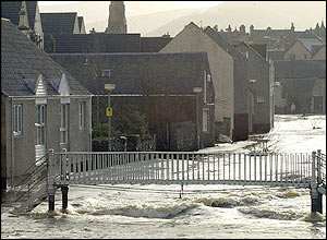 A flooded street scene in Peebles, Scottish Borders